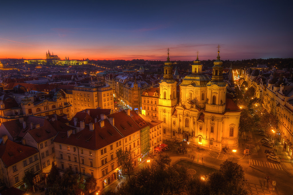 Two cathedralsLooking at my photos from Prague, I'm really thinking that I should give myself a panoramatic tripod head for Christmas :) It would really look interesting. HDR from three shots, taken with Canon 7D with Sigma 10-20mm lens, from a tripod.