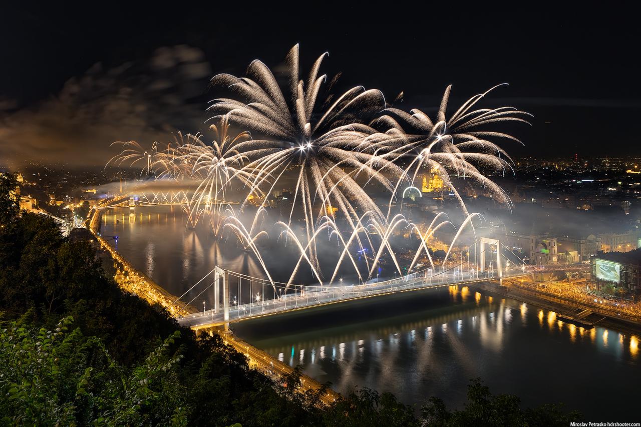 Fireworks over Danube in Budapest, Hungary