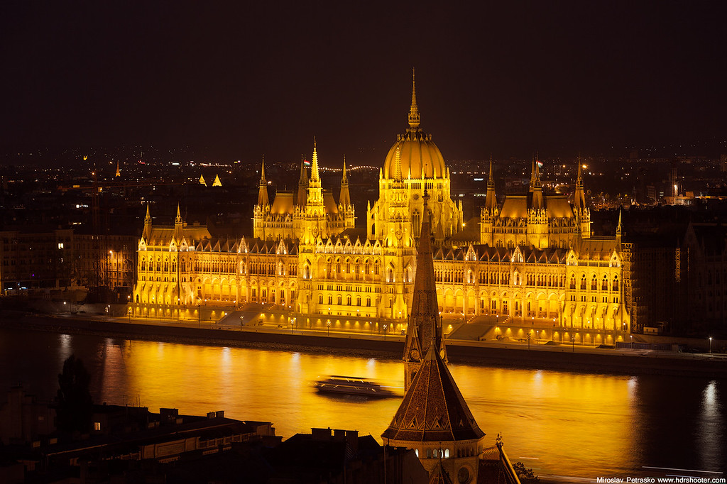 Yellow glow of the Hungarian parliament Budapest