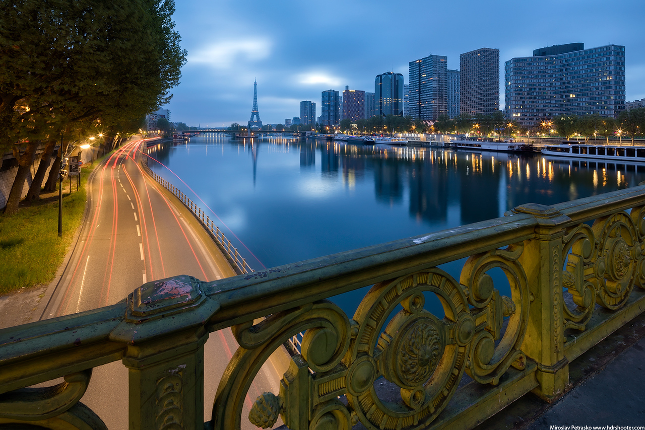 Calm morning reflection in Paris, Eiffel tower, France
