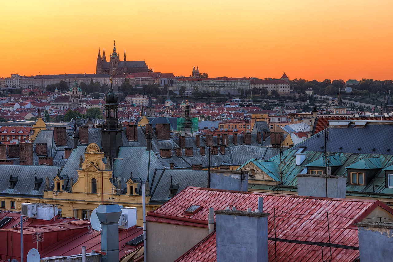 Prague Roofs A little different view of the Prague Castle.