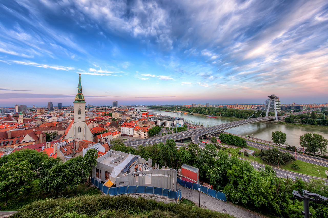 The fish-eye view of Bratislava This is my very first fish-eye HDR. I tried to remove the distortion as good as I knew, and I think for a first photo is quite good.