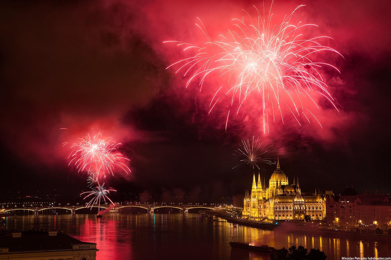 Stunning fireworks over Budapest, Hungary