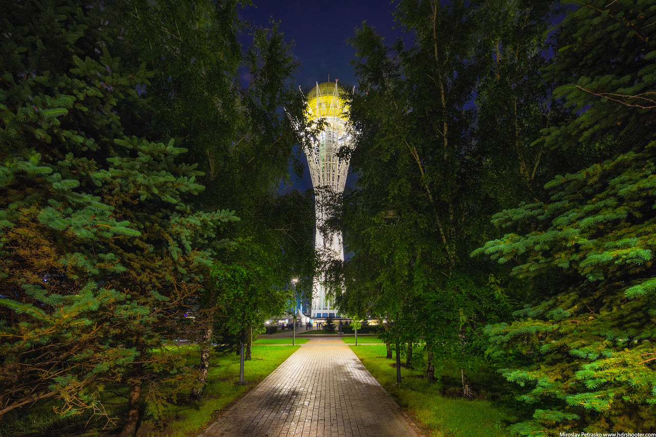 Light in the park, Astana, Kazakhstan, Bayterek