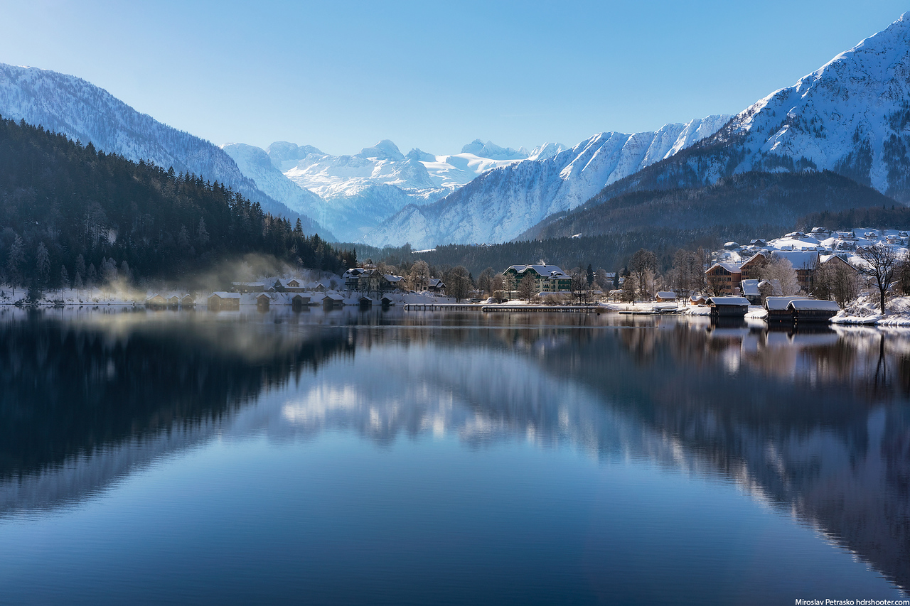 Sunlit reflection at the Altausee, Austria
