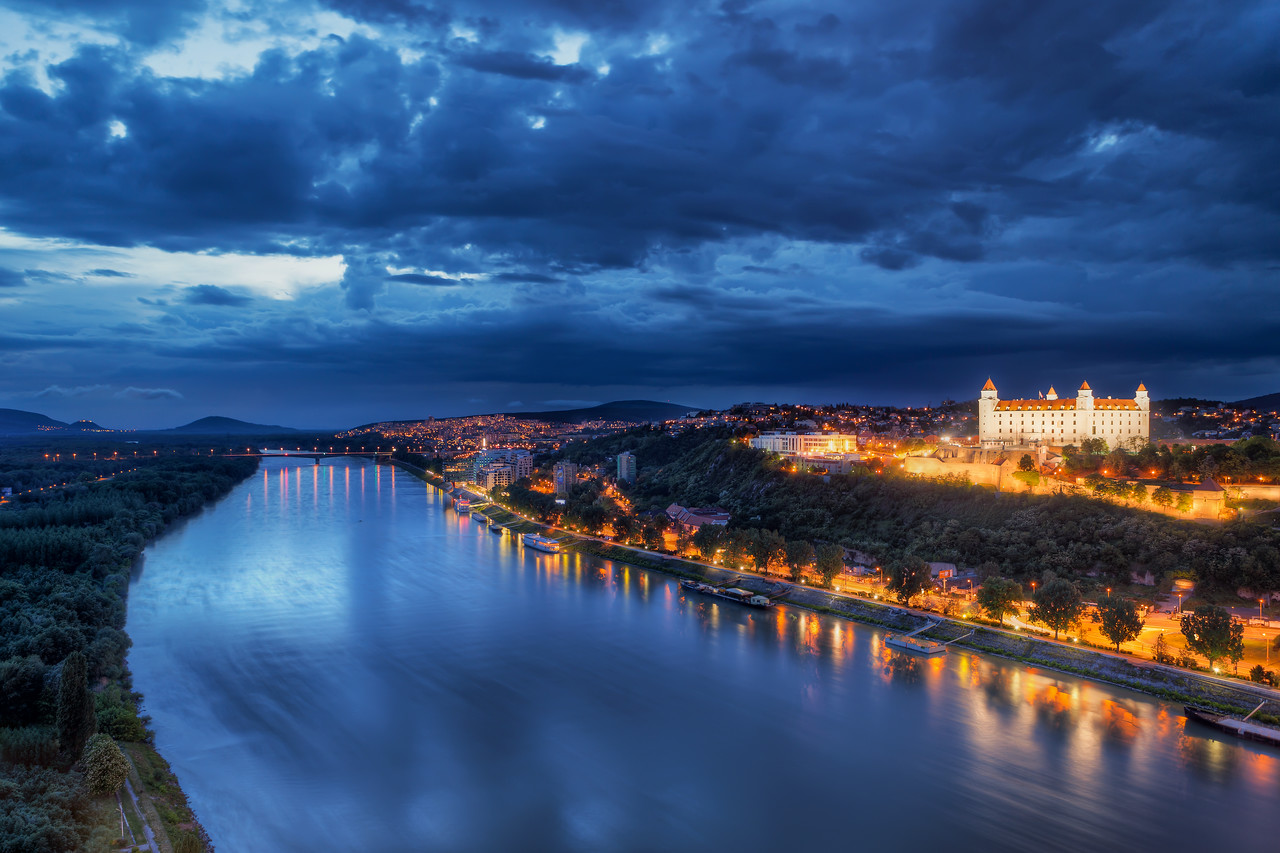 """Castle next to Danube When I finished this photo, I noticed some strange """"artifacts"""" on the bottom, on the water. At first I thought I did something wrong in the processing, and then I found that it's the reflection of the clouds :)"""