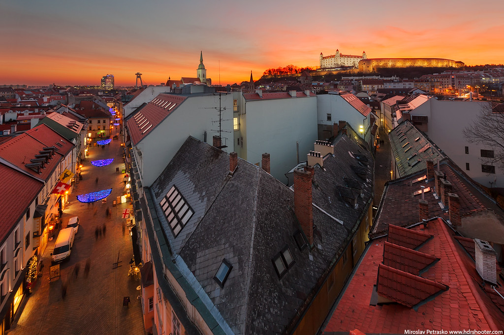 Winter sunset over Bratislava Slovakia
