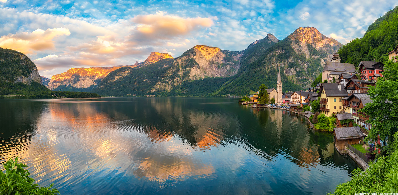 Sunset panorama from Hallstatt, Austria
