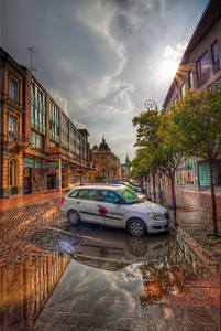After the rain  A heavy thunderstorm can give you some really nice opportunities to capture reflection in the city. And this was one of them :)  HDR from three shots, taken with Canon 450D with Sigma 10-20mm lens, handheld. Photo taken in Kosice, Slovakia