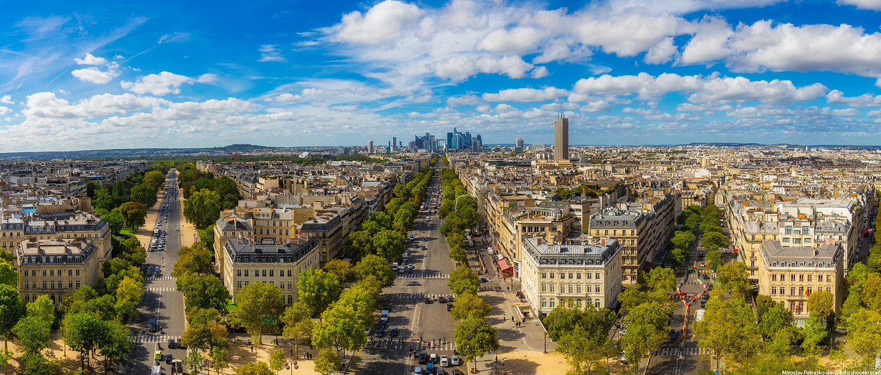 Sunny day panorama from Paris, France