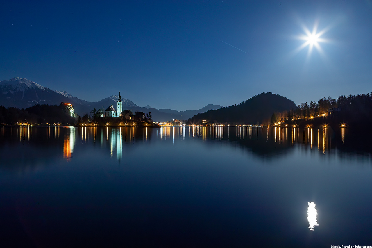 Late night moon at lake Bled
