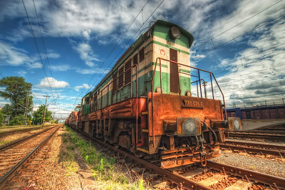 Green train  Another photo taken at the Rendez gathering of old trains. There were also normal trains stationed a little further away, so I went and took few shots also from them.  HDR from three shots, taken with Canon 450D with Sigma 10-20mm lens, from a tripod.
