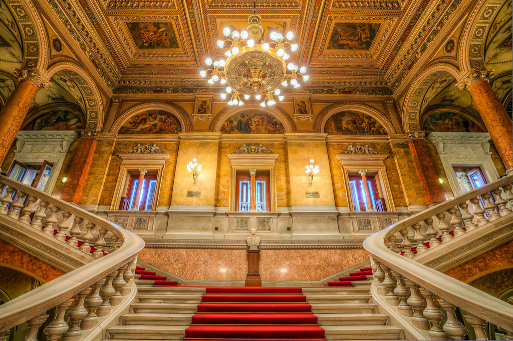 The beauty of the opera stairs The most beautiful place in the opera is always the main room with the stage. But the stairs are usually not that much behind.