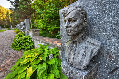 Soldier at Dukla  This photo is from the Dukla Pass war memorial in eastern Slovakia. It's one of Red army soldiers who fell in World War II. I took this photo last summer. This was actually my second visit to this memorial (what is a big shame on me, since it's like 40km from where I lived). First time I was there when I was about 6-7 year old. I remember the memorial being so big :)   HDR from three shots, taken with Canon 450D with Sigma 10-20mm lens, from a tripod.