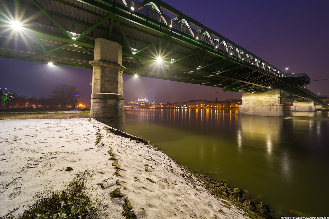 Cold evening under the Old bridge, Bratislava, Slovakia