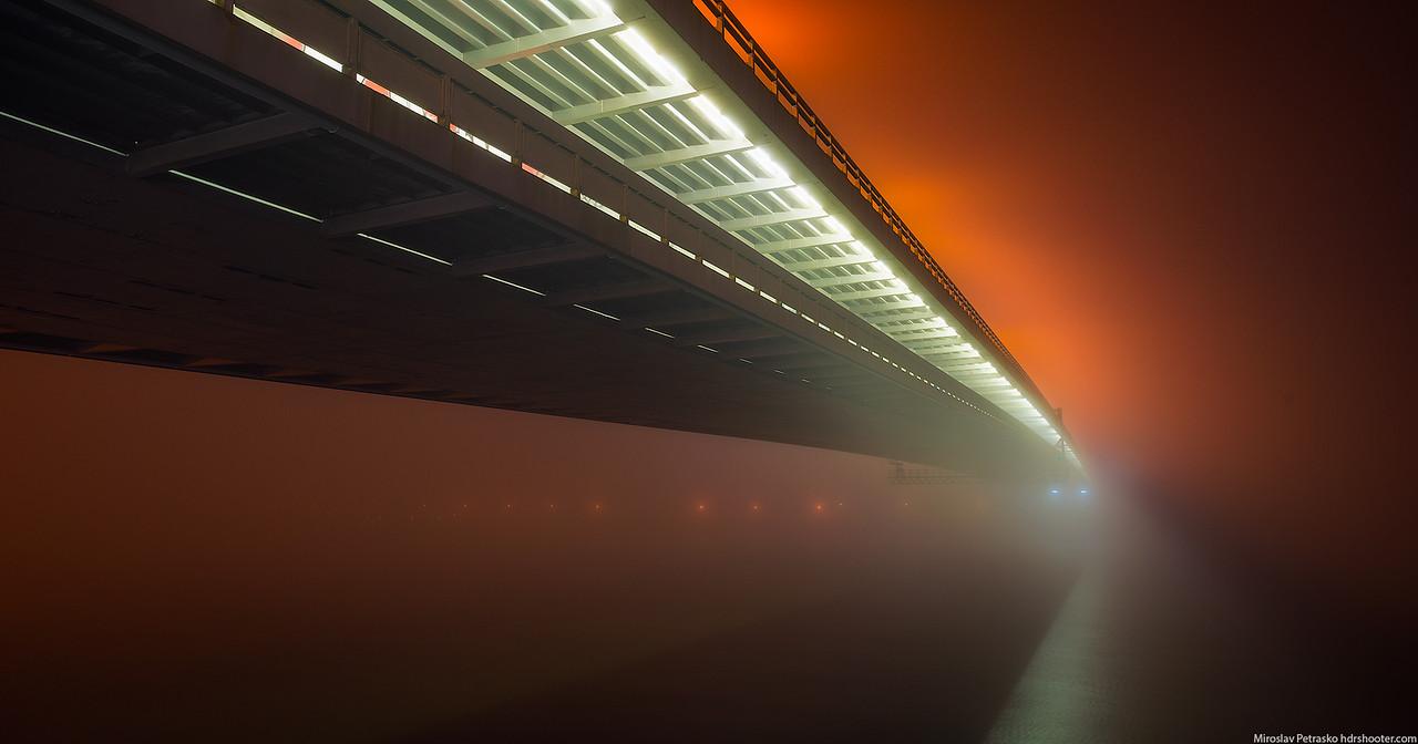 In the fog, Bratislava, Slovakia, SNP bridge