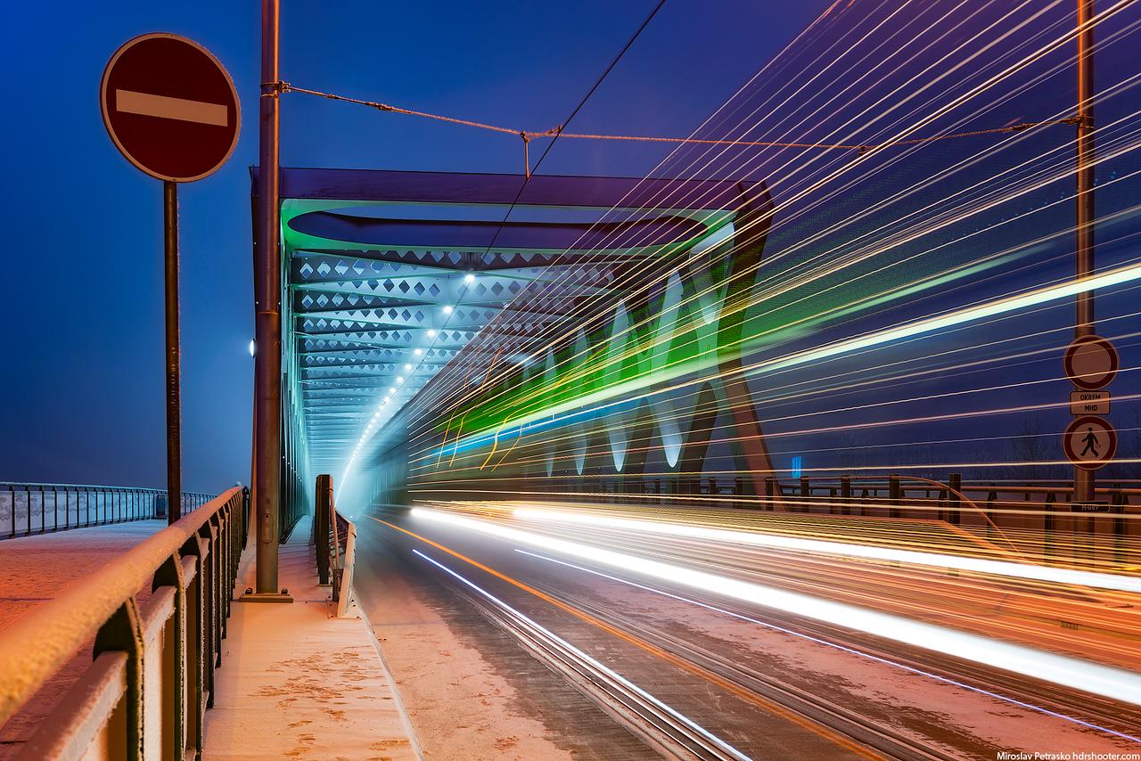 Passing winter tram, Bratislava, Slovakia
