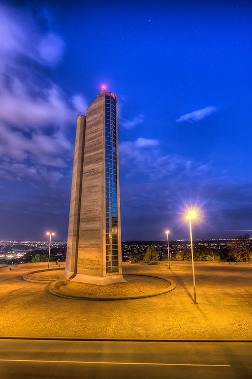 Ventilation tower This was a great scene to be shot in HDR. The bottom part of the tower was heavily lit from all the surrounding light, with the top part almost completely dark. HDR process worked great here :)HDR from three shots, taken with Canon 450D with Sigma 18-200mm lens, from a tripod.