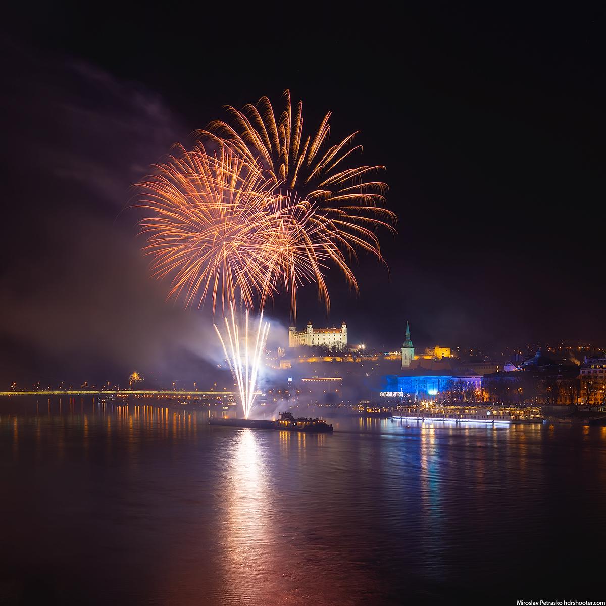 Orange fireworks, Bratislava, Slovakia