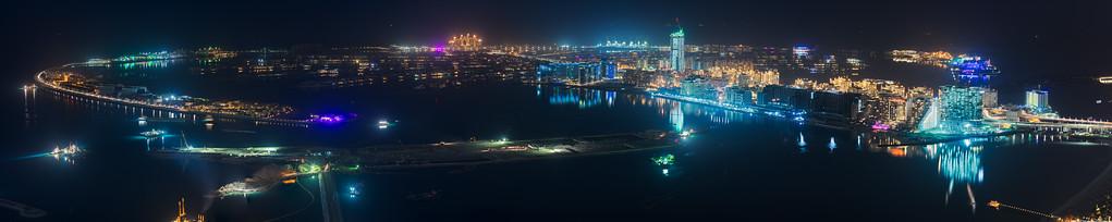 Palm Jumeirah at night, Dubai, UAE