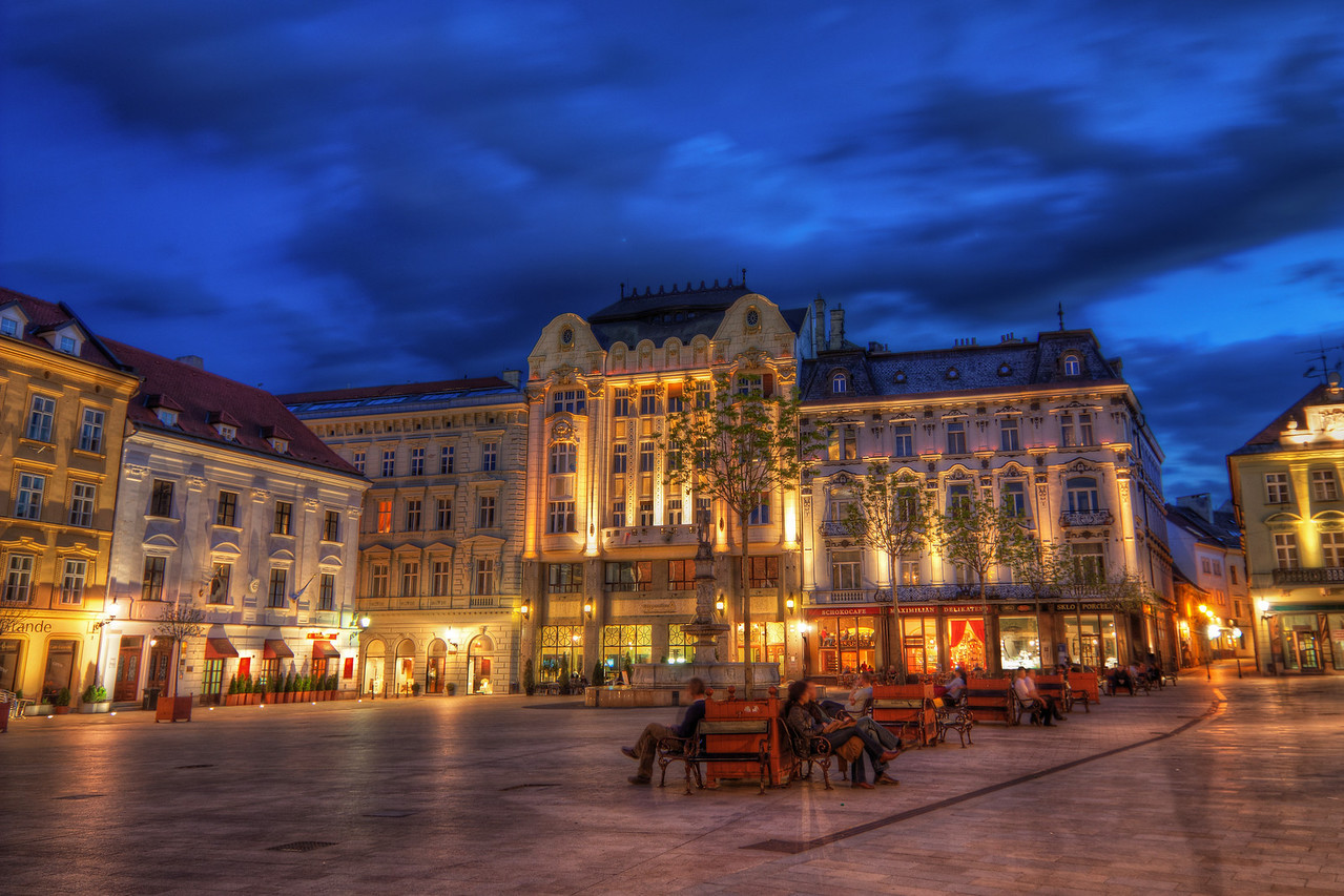 Main Square  Something from the center of Old town in Bratislava. This photo was taken about a week ago. It was such a nice warm evening, excellent time to go out. A lot of people had the same, so you can see few shadow, from the ones that passed in front of my camera, but I don't really mind.   HDR from three shots, taken with Canon 450D with Sigma 10-20mm lens, from a tripod.