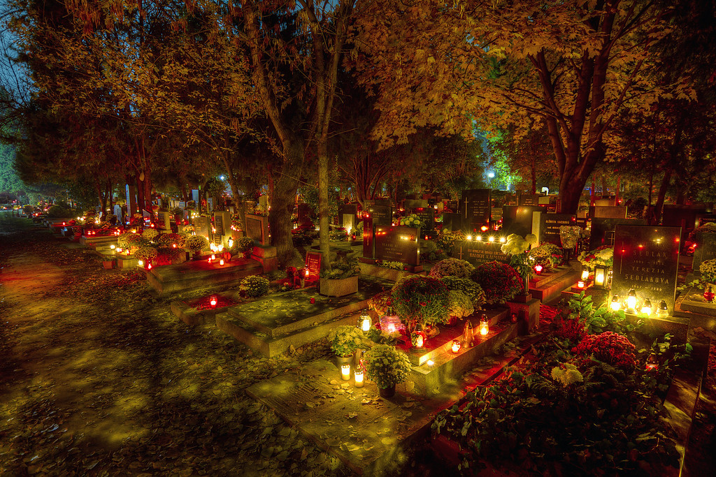 Remembering the DeadAs Halloween is not really celebrated in Slovakia, we have our own variant of a day of the dead. It's called Dusicky here and the tradition is to go and put candles on the graves. I live not far from the Martinsky cintorin (Martin Cemetery) in Bratislava, so I went and took  few shots. Only few, in a side alley,  as I think you shouldn't disturb people in such a place.HDR from three shots, taken with Canon 7D with Sigma 10-20mm lens, from a tripod.