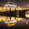 <h2>A fogy reflection</h2> A bridge and a reflection. Two most common elements in my photos. This time it's of the National Theatre Opera in Prague and the Bridge of Legions.