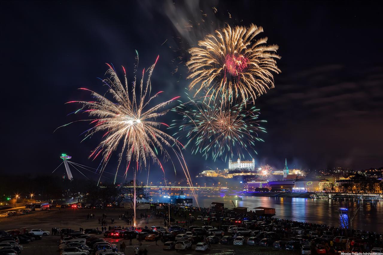 new year fireworks Bratislava Slovakia