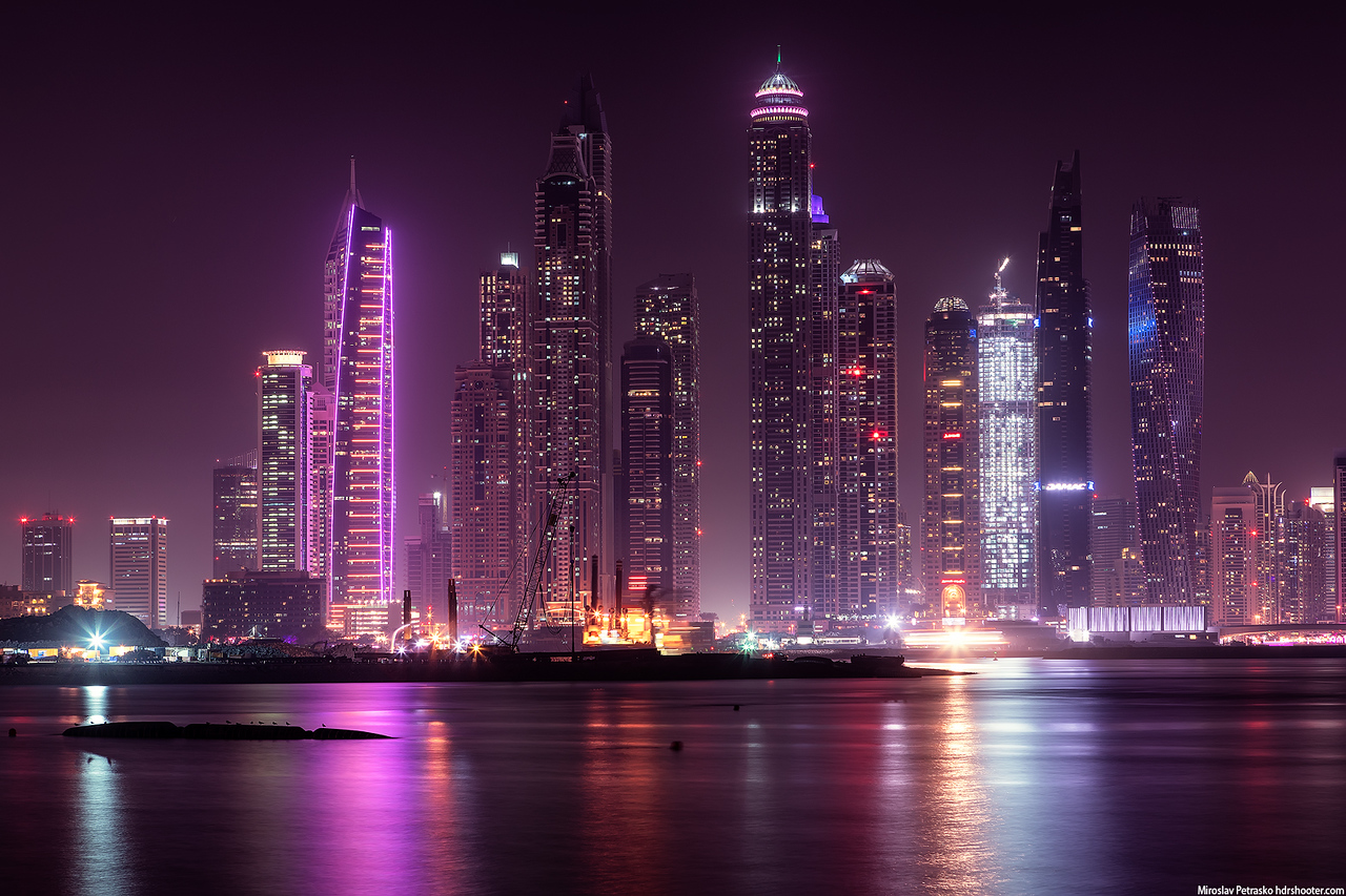 Neon lights in the Dubai Marina