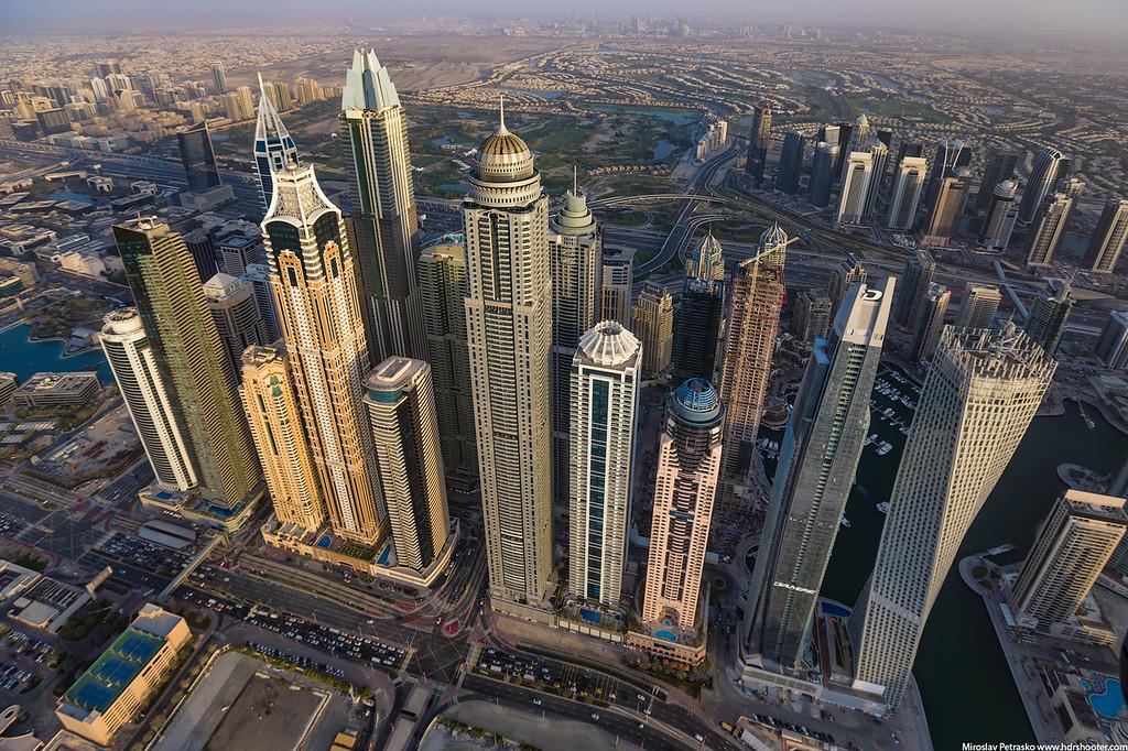 Flying over the Dubai Marina, Dubai, UAE