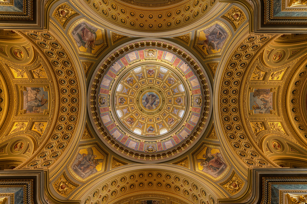 The stunning ceiling in the St. Stephen's BasilicaI tried to center this as much as possible, and have it very symmetrical. I almost completely succeed :)