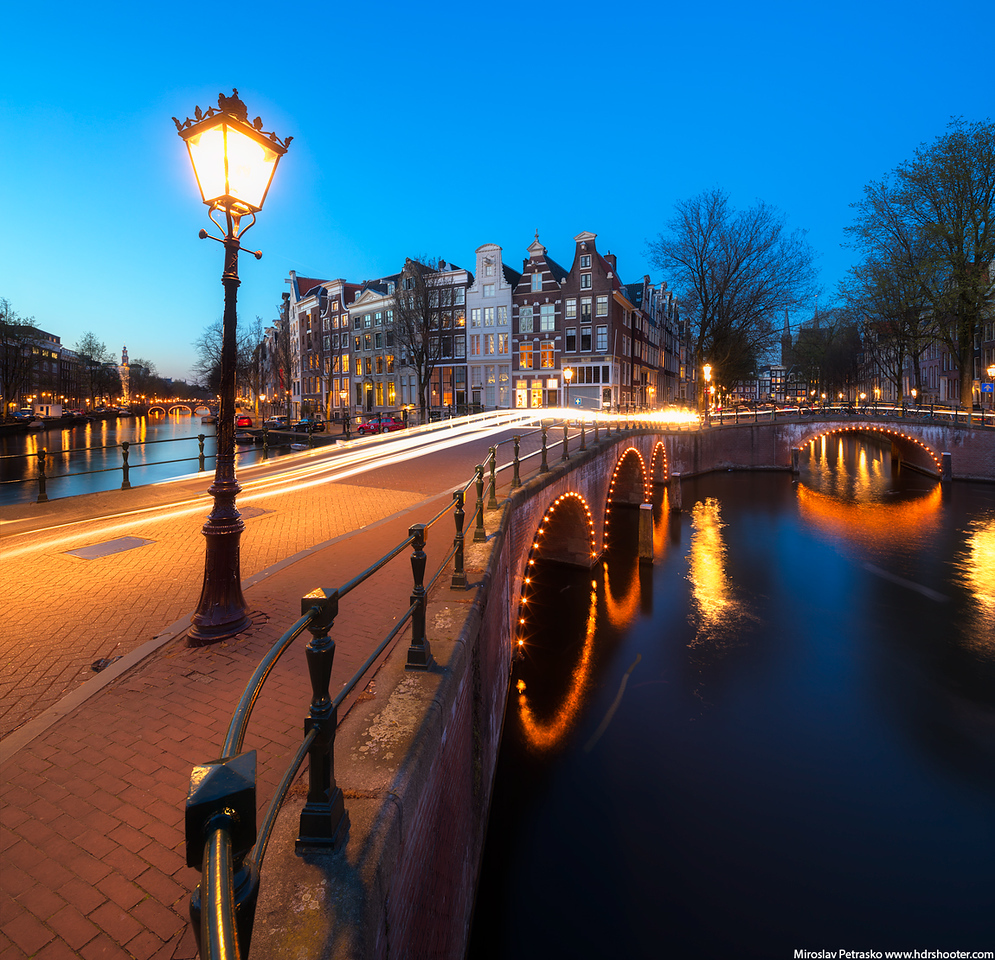Blue hour at the canals in Amsterdam