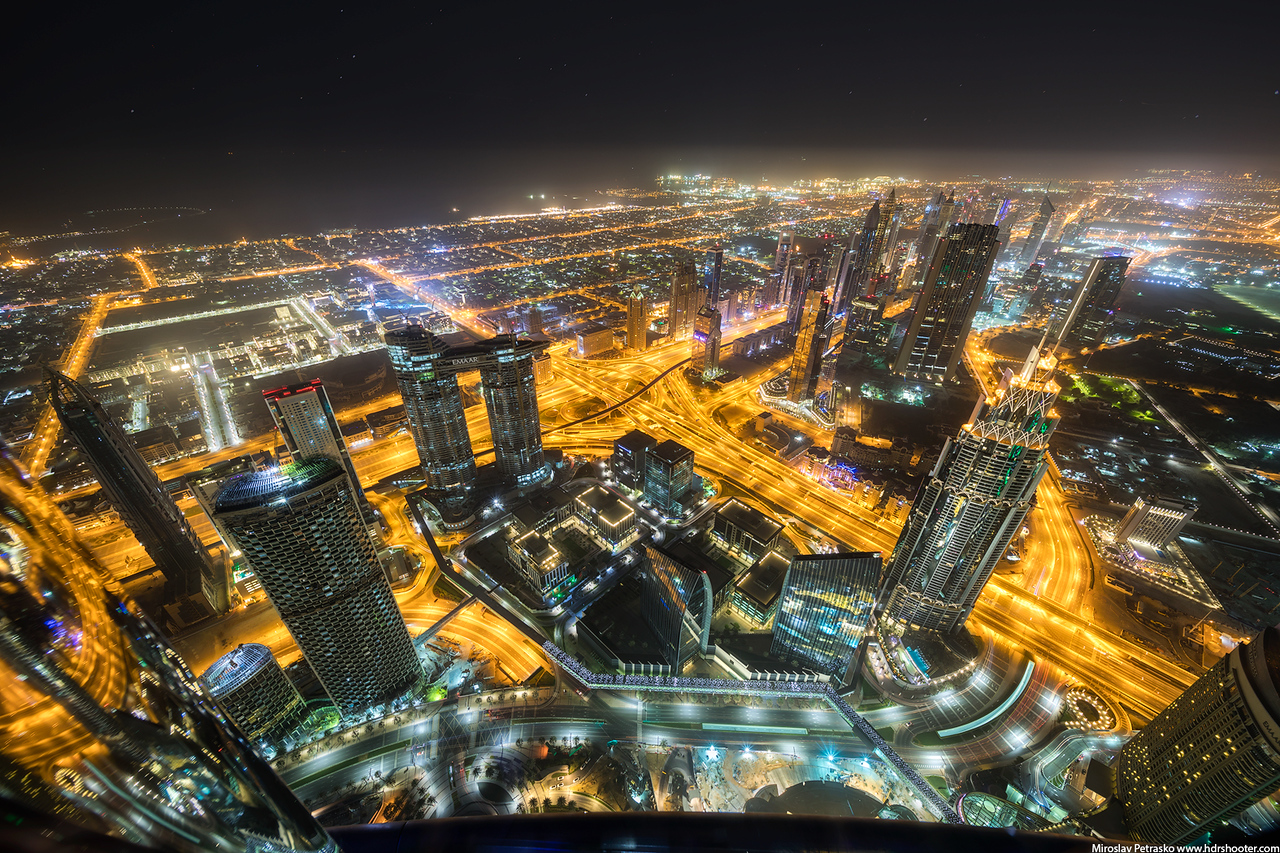 Night in the sky over Dubai, Burj Khalifa, UAE