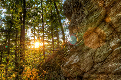 As the sun sets behind the rocks It's great how all the leafs get a gold color when the sun shine through them. The whole trees look like they were glowing. I hope the colors are alright on this one, as my Ipad show them really red. It actually shows all my photos, which have a lot of yellow and orange in it, as really red. I'm not sure where the problem is.