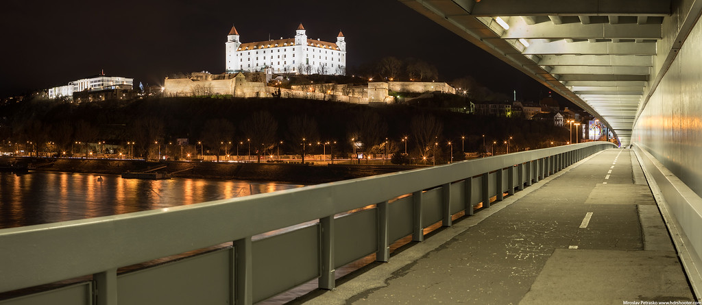 Panorama across the bridge, Bratislava