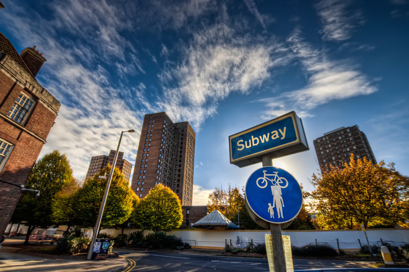 Subway Sign  I took just one wrong turn and ended up in a complete different part of Birmingham, as I wanted :). But still I took some nice photos :)  HDR from three shots, taken with Canon 450D with Sigma 10-20mm lens, handheld.