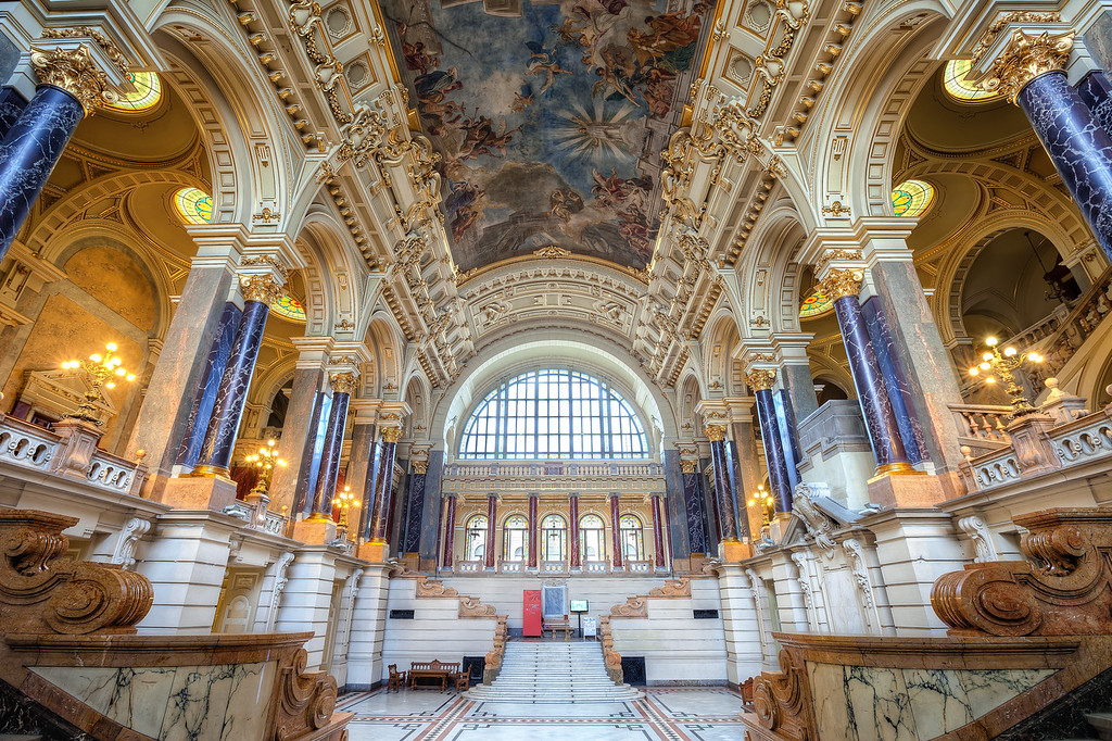 Entry hall in the Ethnographic Museum How about another very beautiful interior. This one is in the Ethnographic Museum in Budapest. Really a beautiful place. I spend almost two hours just running around this room, trying all the possible angles :)