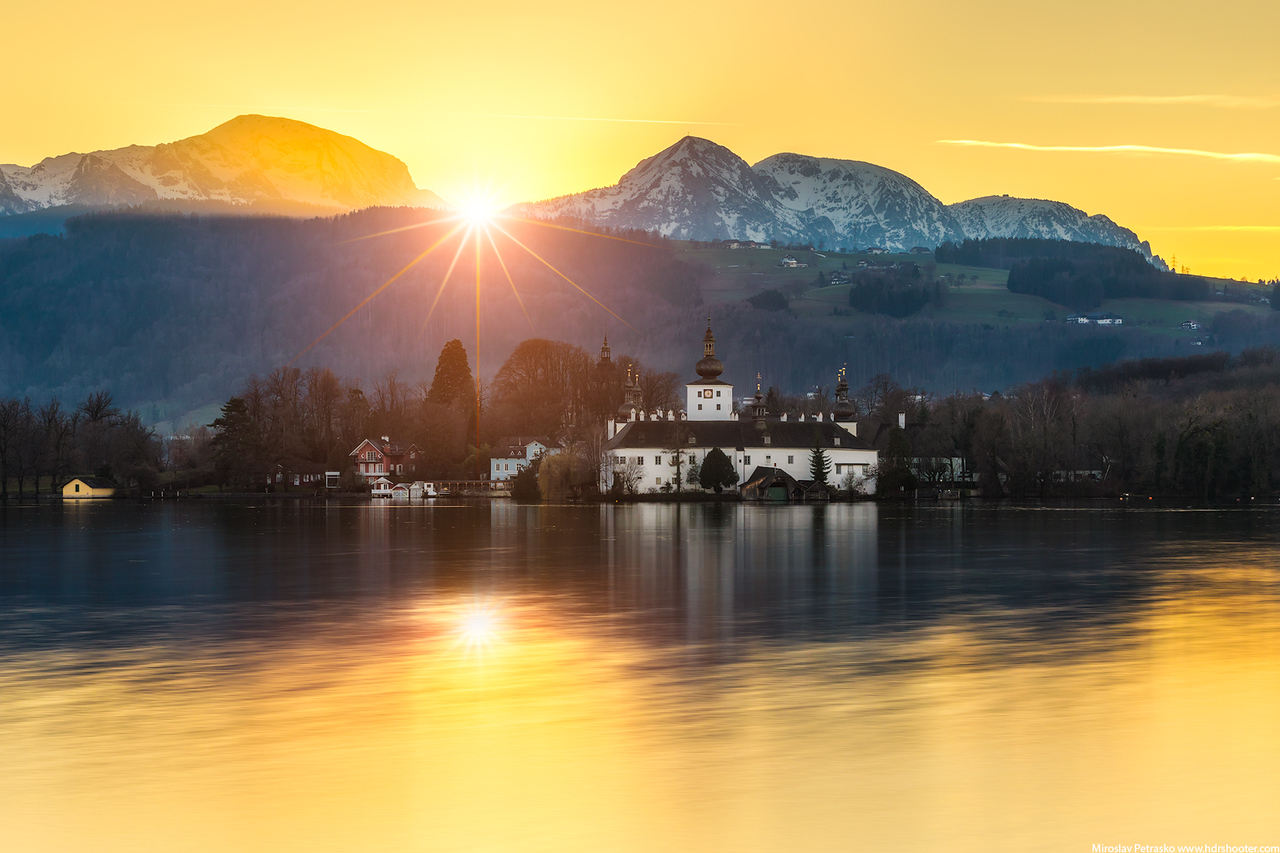 Sunset at Schloss Ort, Gmunden, Traunsee, Austria