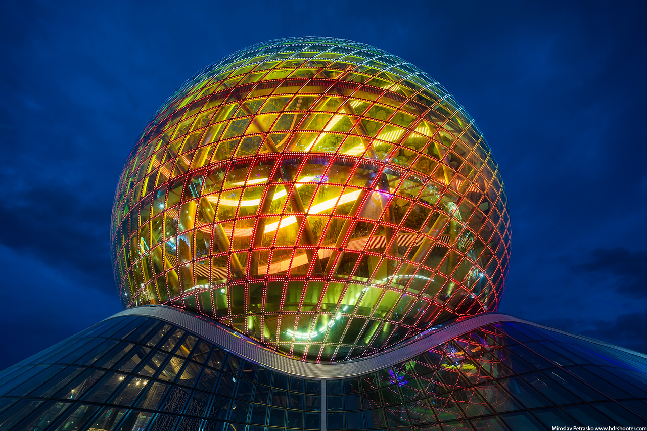 Sphere building in orange, Astana, Kazakhstan