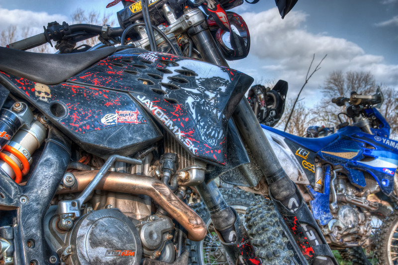 Bikes  A little closer look at bikes. HDR here brings out a really nice detail.  HDR form three shots, taken with Canon 450D with Sigma 18-50mm lens, from a tripod.
