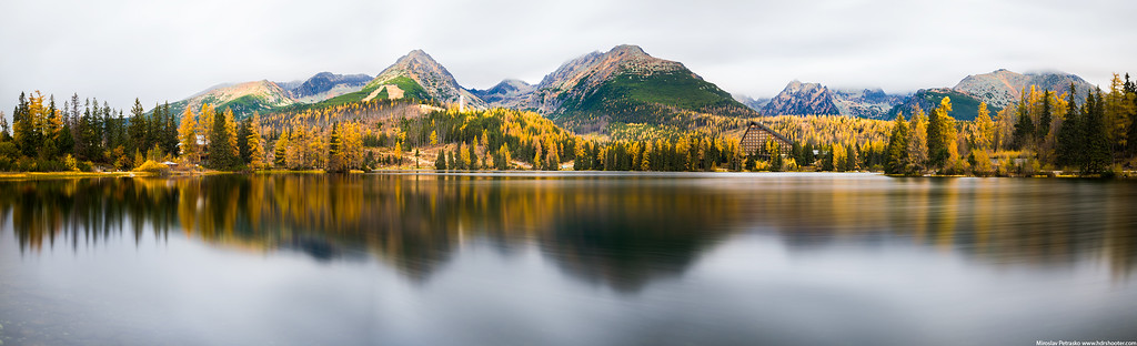 Long exposure panorama at the Strbske pleso, Slovakia