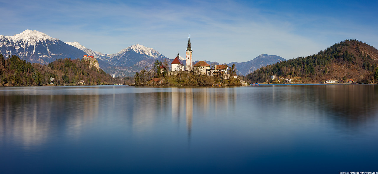 Long exposure reflection at the lake Bled