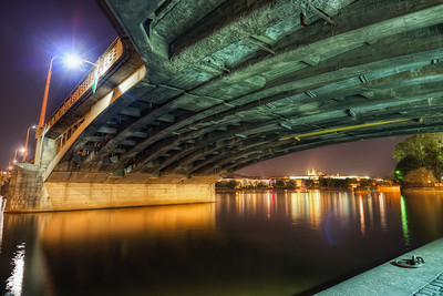Another bridge in Prague  There are really a lot of bridges in Prague, so always when I'm there, I try to take a shot from under at least one of them. This time it's the Jirásek Bridge (Jiráskův most).  HDR from three shots, taken with Canon 450D with Sigma 10-20mm lens, from a tripod.