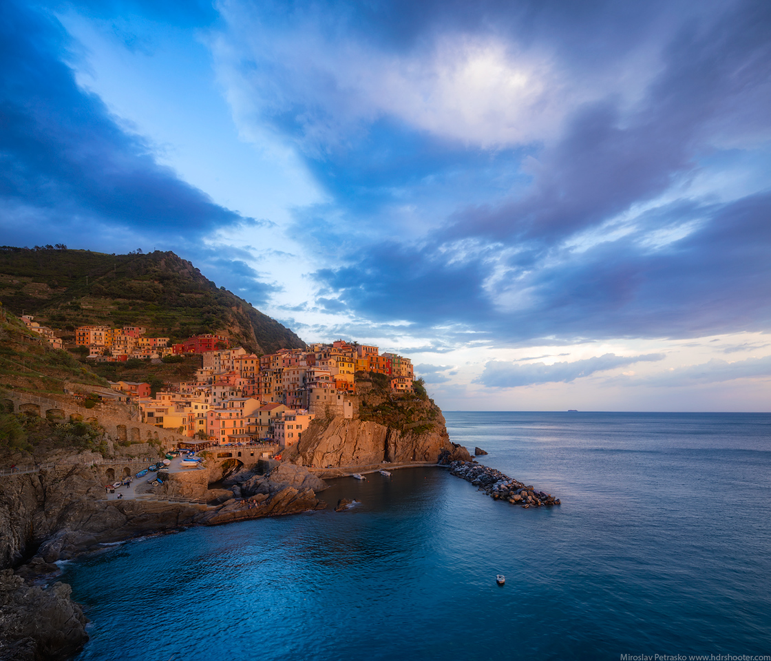 Golden hour in Manarola, Cinque Terre, Italy