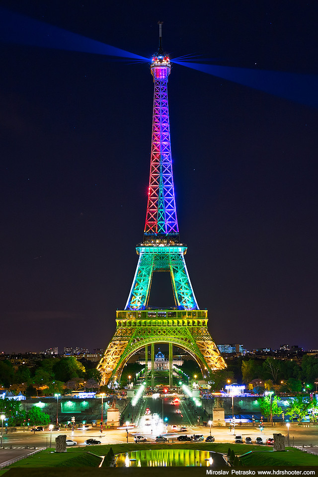 The colorful Eiffel tower