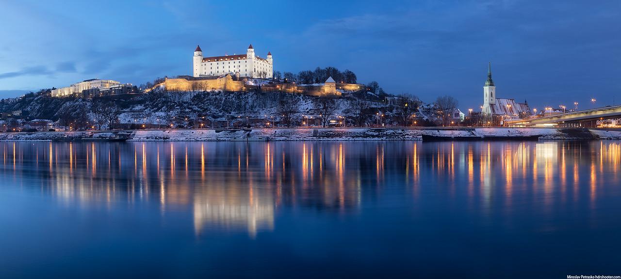 A cold evening panorama, Bratislava, Slovakia