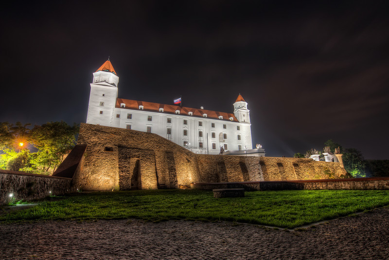 White Castle  You can quite see, that the castle was under reconstruction only recently. It so white and shining at night :). It makes it a little harder for taking HDR photographs, but that's fine :)  HDR from 6 shots, taken with Canon 450D with Sigma 10-20mm lens, from a tripod.