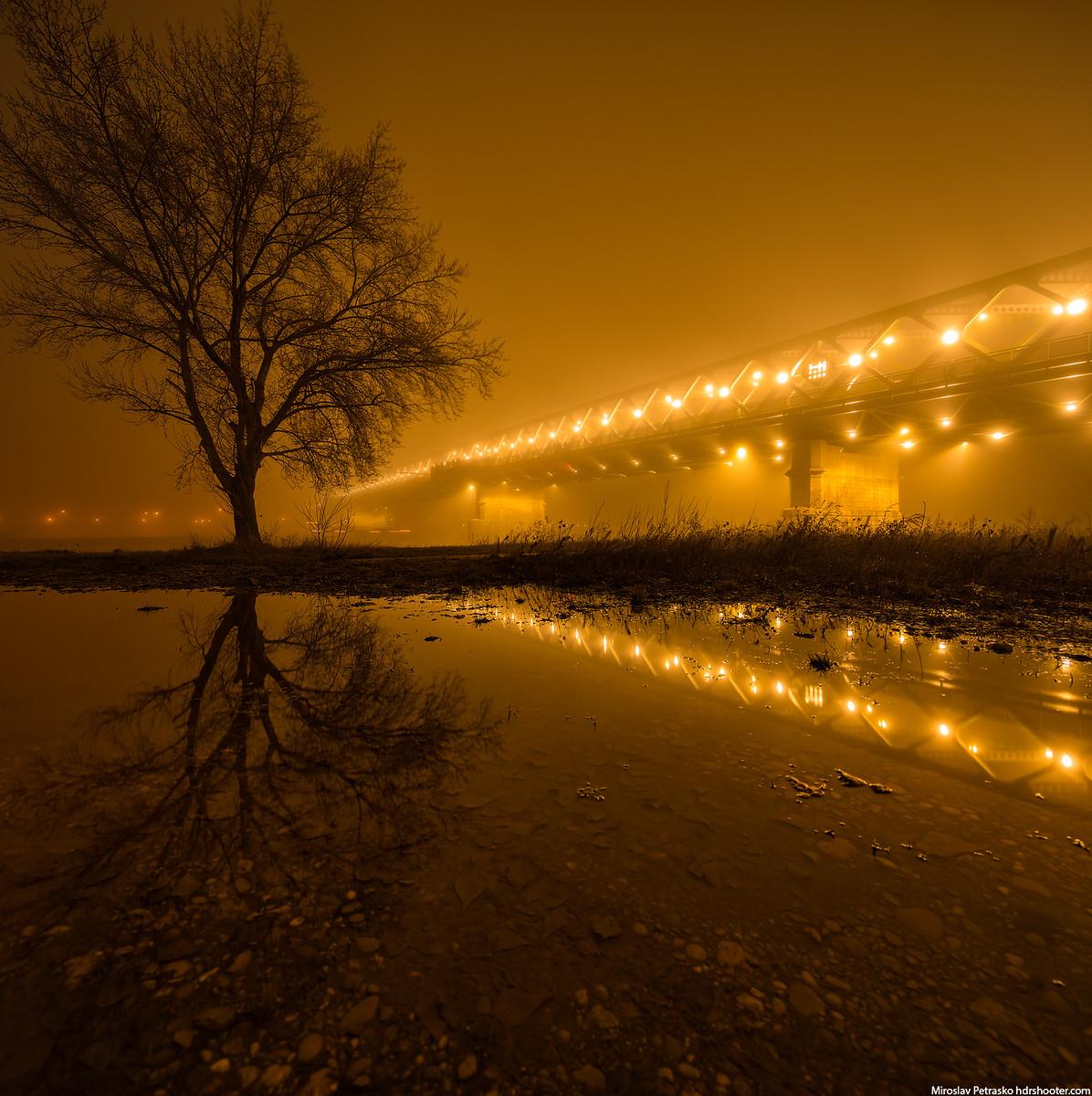 Midnight reflection, Bratislava, Slovakia