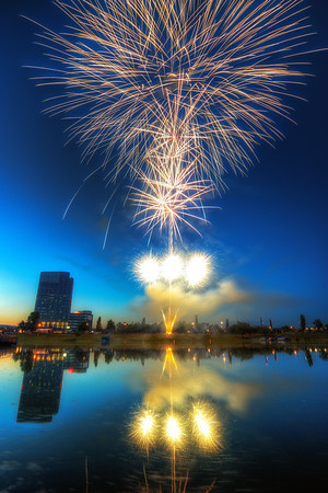 Big Bang  I would love to take new fireworks shots, but I had no real chance lately (usually heavy fog or canceled because of bad weather). So I went through my old photos and found another one :)  HDR from a single shots, taken with Canon 450D with Sigma 10-20mm lens, from a tripod.