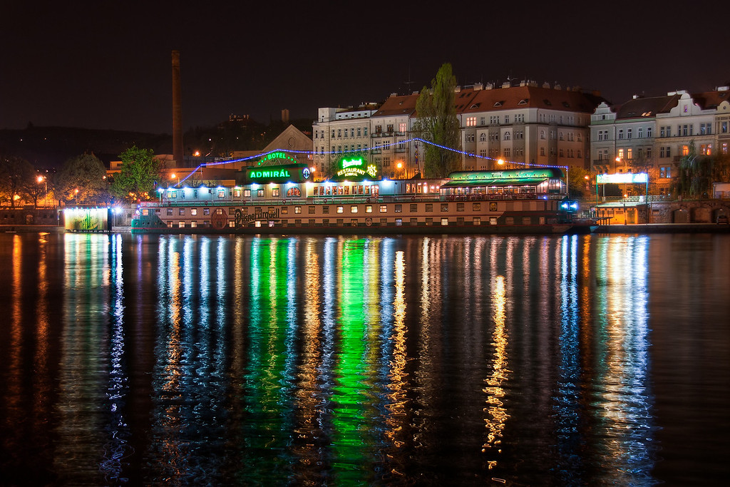 Colors of Vltava  There are so many colors in this one. The bottom part almost looks like it was drawn in photoshop :) (I used to do a similar effect in my abstract images). So this is another one from Prague, again taken late at night.   HDR from three shots, taken with Canon 450D with Sigma 18-200mm lens, from a tripod.
